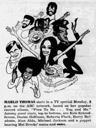 Newspaper clipping advertising Marlo Thomas's 1973 TV special, Free to Be...You and Me
