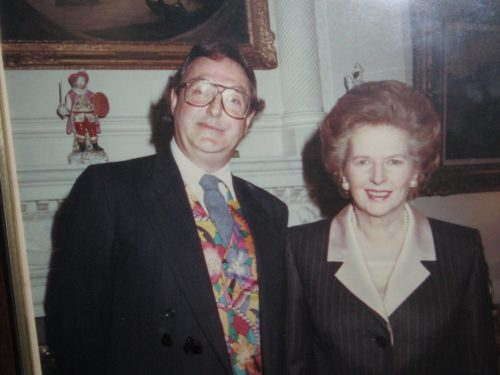 Jonathan King poses with Margaret Thatcher, date unknown