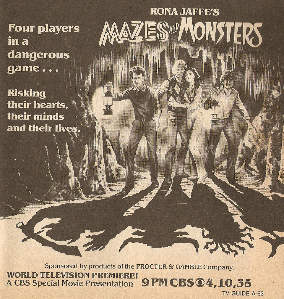 TV Guide ad for 1982 TV movie Mazes and Monsters