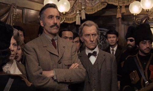 Christopher Lee and Peter Cushing in Horror Express (1972)