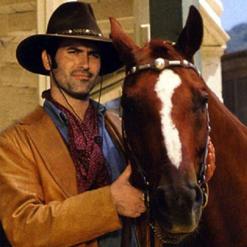 Bruce Campbell as Brisco County Jr. with one of the horses who played Comet